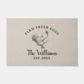 Farm Fresh Eggs Family Monogram Doormat