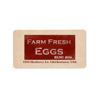Farm Fresh Eggs Label Address Label