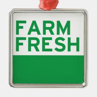 Farm Fresh Silver-Colored Square Decoration