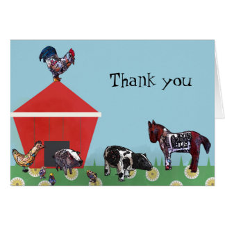 Farm Friends Thank you note Card