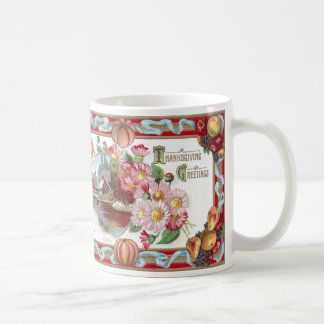 Farm, Fruit and Pink Mums Thanksgiving Coffee Mug