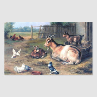 Farm Goat Kids Pigeons Rectangular Sticker