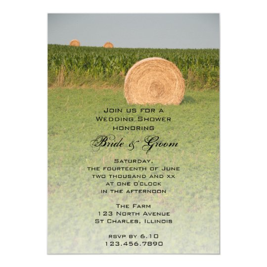 Farm Hay Bales Country Wedding Shower Invitation