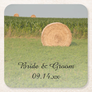 Farm Hay Bales Country Wedding Square Paper Coaster