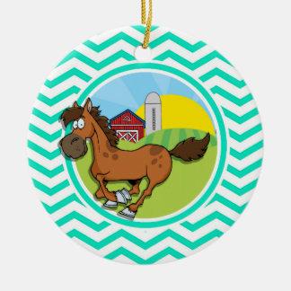 Farm Horse Aqua Green Chevron Christmas Tree Ornament