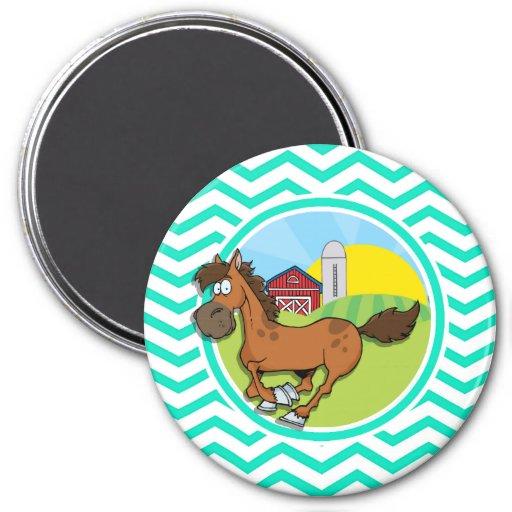 Farm Horse; Aqua Green Chevron Fridge Magnet