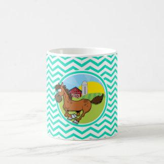 Farm Horse; Aqua Green Chevron Coffee Mug