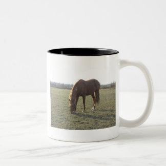 Farm Horse Grazing Two-Tone Mug