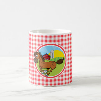 Farm Horse; Red and White Gingham Coffee Mug