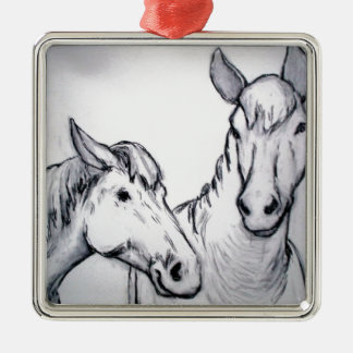 Farm Horses in Charcoal, Black & White Drawing Silver-Colored Square Decoration