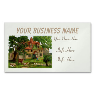Farm House And Country Garden Magnetic Business Cards