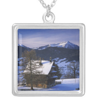 Farm house and Mount Rigi and Pilatus, Silver Plated Necklace