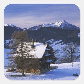Farm house and Mount Rigi and Pilatus, Square Sticker