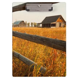 Farm House And Rail Fence In Grand Teton Clipboard