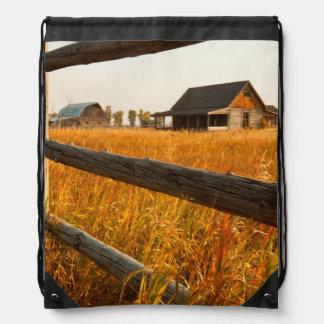 Farm House And Rail Fence In Grand Teton Drawstring Bag