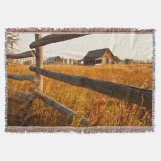 Farm House And Rail Fence In Grand Teton Throw Blanket