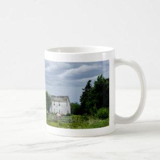 Farm House and Watchful Horse Basic White Mug