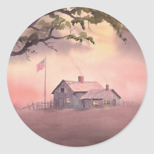 FARM HOUSE by SHARON SHARPE Classic Round Sticker