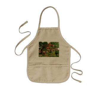 Farm House With Chickens Kids Apron