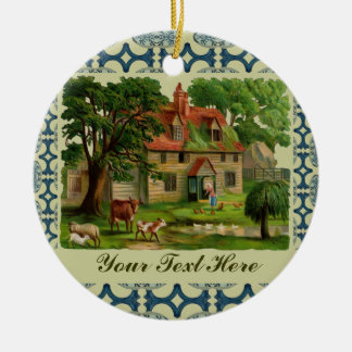 Farm House With Chickens Round Ceramic Decoration