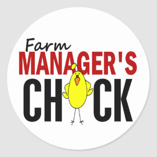 Farm Manager's Chick Classic Round Sticker