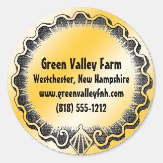 Farm Market Jar Cap Address Label Round Sticker