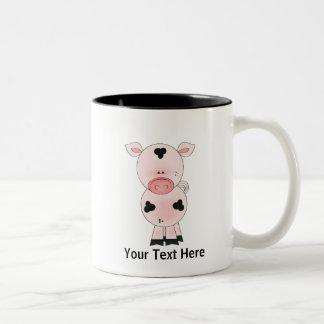 Farm Pig (personalized) Two-Tone Mug