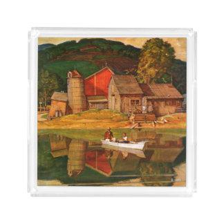 Farm Pond Landscape by Mead Schaeffer Acrylic Tray