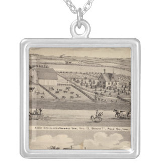Farm residence of I Lee & residence of T Mitchell Silver Plated Necklace