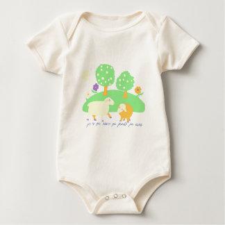 farm scene-farm scene-sheep, trees and flowers baby bodysuit