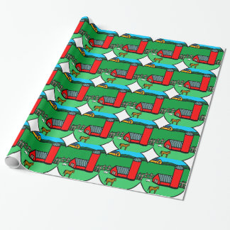 Farm Scene Horse Barn Pasture Cartoon Drawing Wrapping Paper