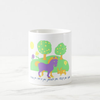 farm scene- horse bunny and trees and flowers-in coffee mug