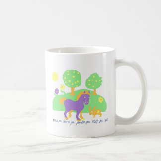 farm scene- horse, bunny and trees and flowers-in classic white coffee mug