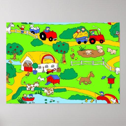 Farm scene poster