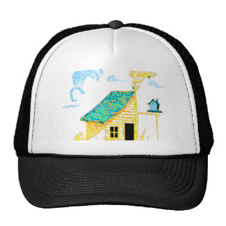 Farm Scene with shed, tree, and birdhouse Hat