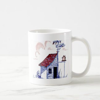 Farm Scene with shed, tree, and birdhouse Mugs