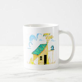 Farm Scene with shed, tree, and birdhouse Coffee Mugs