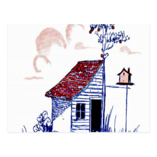 Farm Scene with shed, tree, and birdhouse Postcard