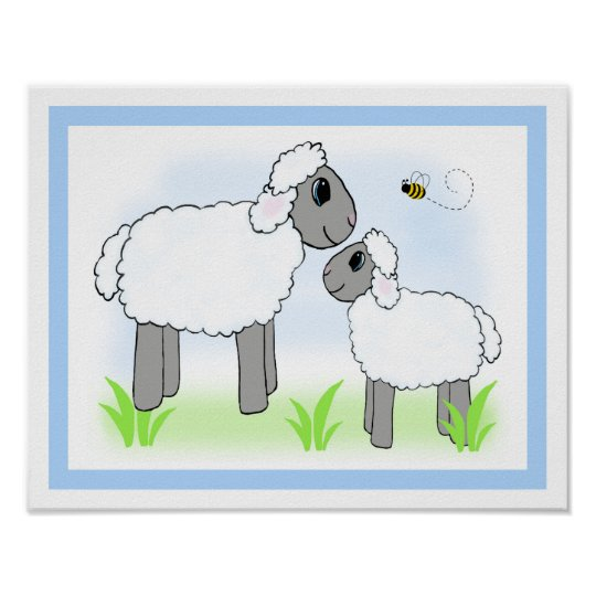 Farm Sheep Lamb Nursery Baby Boy Wall Art