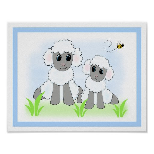 Farm Sheep Lamb Nursery Baby Wall Art Print