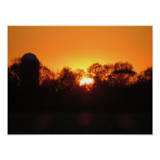 Farm silo Sunset Poster
