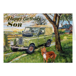 """FARM"" Son Birthday Card With Land Rover Scene"