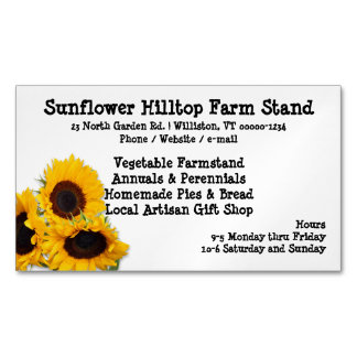 Farm Stand Sunflowers Business Cards Magnetic Business Cards