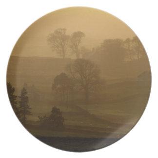 Farm Stead in the evening mist Dinner Plate