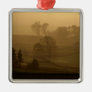 Farm Stead in the evening mist Ornament