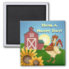Farm Sunflowers Rooster Magnet
