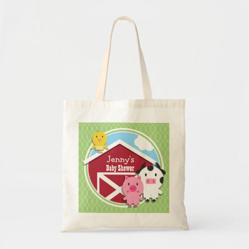 Farm Theme Baby Shower; Bright Green Ovals Tote Bag