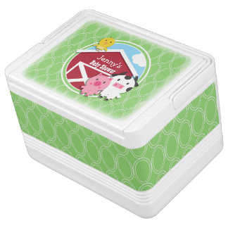Farm Theme Baby Shower; Bright Green Ovals Igloo Cooler