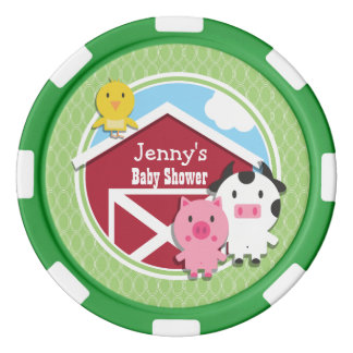 Farm Theme Baby Shower; Bright Green Ovals Set Of Poker Chips