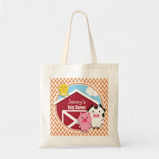 Farm Theme Baby Shower; Orange and White Chevron Tote Bag